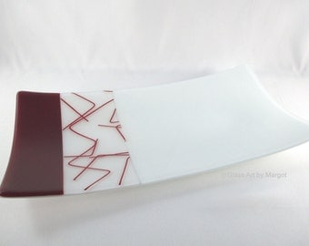 Fused Glass Plate Rectangular Serving Red Bent Stringer