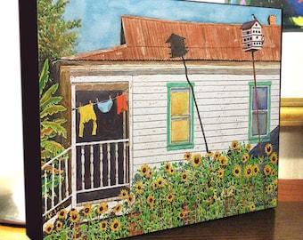 "Clothesline, Sunflowers, Shotgun House Art 8x10x1.5"" and 11x14x1.5"" Gallery Wrap Canvas Print"