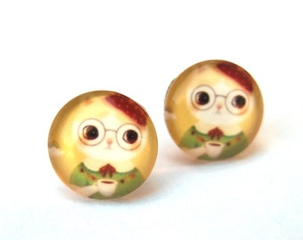 Cat Earrings Glass Cabochon Studs, French Beret Coffee Kitty w/ Glasses, Whimsical Jewelry