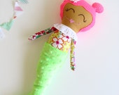 Soft Mermaid Doll // Mermaid Girl Doll // Fabric Doll  // Soft Rag Doll // Mermaid Plush Doll // Pink Hair Girl Doll // Maisy Mermaid