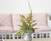 1:6 Scale Miniature Silver Urn Vase Plant Fern Moss Arrangement Blythe Momoko Pullip Barbie Fashion Royalty Doll House