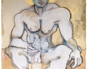Erotic Art Print, Homoerotic Art, Male Nude, Mature - The Poet