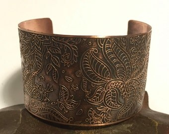 Copper Etched Wide Cuff Bracelet