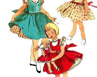 Child's Dress Pattern 1950s Simplicity Vintage Sewing Children's Jumper Girl's Size 6
