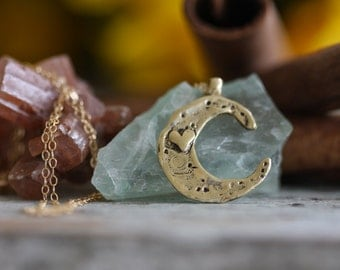 Love you to the moon and back Hand cast Solid Bronze or Golden Brass On 14k Gold filled Chain necklace