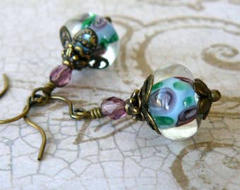 Light Blue Lampwork Earrings, Boho Vintage Style Pale Blue Earrings, Blue and Pink Floral Glass Bead Dangles, Romantic Inspired Jewelry