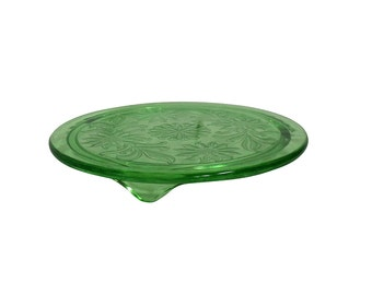 1950s Platform, Cake Plate, Green Glass Patterned Flowers