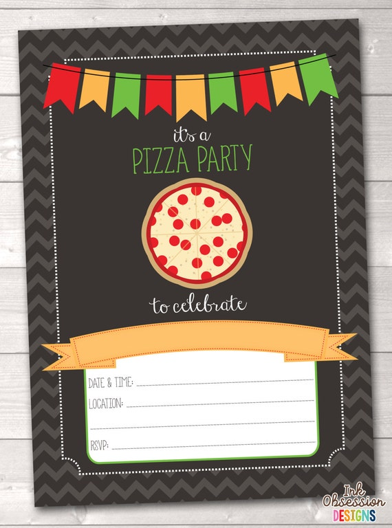 instant download pizza party invitation pizza party birthday, Party invitations