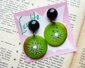 Atomic Kiwi! Handmade 1940s 50s vintage inspired Kiwi Fruit Earrings by Luxulite