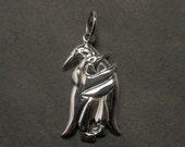 Penguins pendant - Hugging penguins - Sterling silver