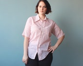 plus size shirt / red white grid pattern / 1980s / XL