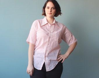 SALE plus size shirt / red white grid pattern / 1980s / XL
