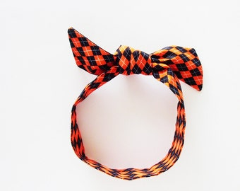 Orange & Black Argyle Head Scarf / Multipurpose Hair Accessory, Neck Tie, Handbag or Walker Adornment, Pet Neckerchief / Fun Gift Under 25