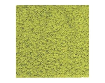 Miyuki Delica Beads 11/0 Japanese Seed Beads DB1266 (7.2g), Matte Transparent Lime Green Delica Seed Beads, Glass Seed Bead, Cylinder Bead