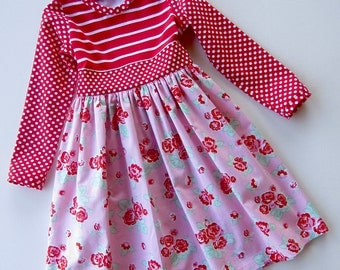 Sugar Roses Knit Bodice and Woven Skirt Dress Available sizes 12 months- 8 Handcrafted by Valeriya