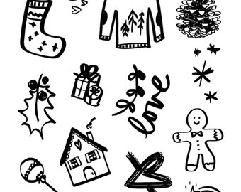christmas stamps clear cozy winter tree decorations pinecone cocoa gingerbread man holly presents jumper stocking shooting star snowflakes
