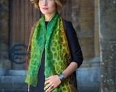 felted scarf, felt scarf, nuno, wool, silk, art, nunofelt, lime, green, kate ramsey felt