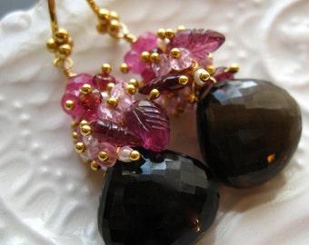 Smoky Quartz Briolette earrings