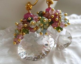 Crystal Quartz Gemstone earrings-Spring Forward