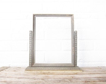 Vintage Art Deco Swing Frame - Wood Swinging Picture Frame - Wooden Swing Frame - Vintage Silver Photo Frame - Rustic Wood Frame -