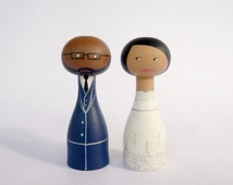 Custom Wedding Cake Topper - Personalized - Wooden art doll hand painted FREE SHIPPING afro american