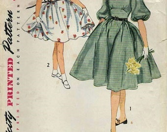 1950s Simplicity 3836 Vintage Sewing Pattern Girl's Party Dress, Midriff Dress, Full Skirt Dress, Petticoat Size 8