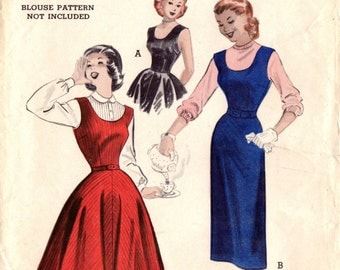1950s Butterick 6065 Vintage Sewing Pattern Teen Dress, Jumper Size 14 Bust 32