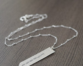 Custom hand stamped name necklace personalized bar necklace sterling silver vertical bar necklace