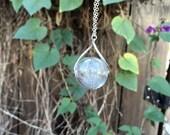 Large Glass Dandelion Wishes Necklace - Dandelion Wish Orb Necklace