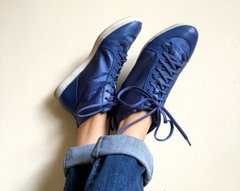 Women's royal blue high top sneakers / Retro blue hi tops / satin tennis shoes / size 10