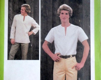 Men's Pullover Top, Vintage 70's Simplicity 8873 Jiffy Sewing Pattern, Size 38 Chest 38, Uncut FF, Retro