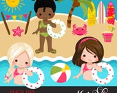 Beach Fun Clipart for Girls. Summer Cliparts, beach, swimming girl, surf board, sand bucket, bunting banner, palm tree, starfish, beach ball