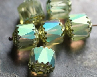 ENAMORED .. 6 Fire Polished Cathedral Czech Glass Beads 8mm (1315-6)