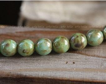 MINTY No. 2 .. 10 Picasso Czech Druk Glass Beads 6mm (3211-10)