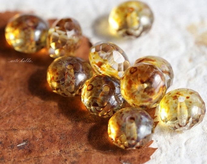 sale .. GOLDEN WHISPERS .. 10 Premium Czech Picasso Rondelle Glass Beads 6x8-9mm (5194-10)