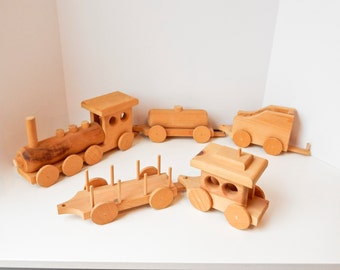 "Large Hand Made 5 piece 14"" Wood Train Set"