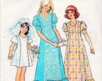 Flower Girl Sewing Pattern Simplicity 6823 Girls Vintage Mod Dress in Two Lengths 1973 Girls' Size 10 Breast 28.5""