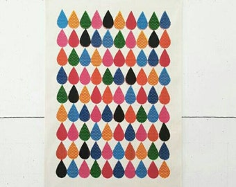 Drops - A3 handmade screenprint on canvas