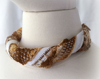 Fabric Necklace Choker Necklace Bandana Necklace Handkerchief Necklace Brown and White Crochet Edges All Vintage Cool and Comfortable