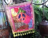 Peace flag, Prayer flag, quilted flag, C35, Peace patch, hippie patch, peace sign, crazy quilt, peace art, hippie decor, peace prayer
