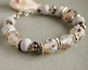 Grey Bracelet, Artisan Lampwork, Beaded Bracelet, Brown, Blue, Swarovski, Sterling Silver - SNOW GOOSE