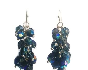 Blue Smoke Earrings - Deep Blue Czech Bead Cluster Dangle Earrings - Mishimon Designs