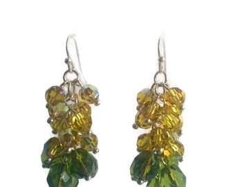 Lime Splice - Green/Yellow Earrings -  Olive Green Czech Glass and Lime Swarovski Bead Cluster Dangle Earrings - Mishimon Designs