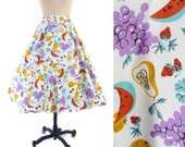 RESERVED ///////////// Vintage 50s Skirt // 1950s Skirt // Circle Skirt // Novelty FRUIT Skirt // Colorful Print Skirt - sz S - 26 Waist