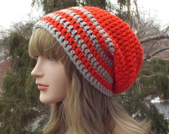 Orange Slouchy Beanie, Womens Crochet Hat, Mens Slouchy Hat, Oversized Slouch Beanie, Hat with Gray Stripes, Slouchy Hat, Winter Slouch Hat