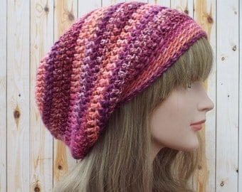 Slouchy Beanie, Womens Crochet Hat, Winter Rose Multicolor Slouch Beanie, Oversized Hipster Hat, Slouch Hat, Baggy Beanie, Boho Slouchy Hat