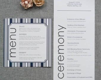 Nautical Navy Blue Wedding Menu, Stripes, Striped Wedding Reception Menu, Dock Side Wedding - Heidi and Kevin