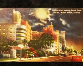 Collins Avenue, Miami Beach, Florida, beautiful vintage linen postcard 1950s