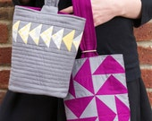 Quilted Wristlet PDF sewing epattern - three different quilting & piecing options for this bag from simple to complex; unique closure