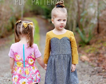Girls Sweetheart Dress PDF Pattern - Sizes 12m - 12years - Magrath Dress & Tunic